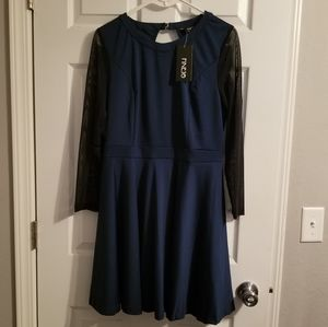 Navy open back dress with mesh sleeves